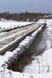 Road bridge across the river Vaga near the village Klopovskaya Royalty Free Stock Photo