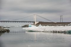 Road bridge crossing the icelake and glacier water in Jokulsarlo royalty free stock photo