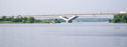 Road bridge Dmitrov highway through the Moscow canal Royalty Free Stock Image