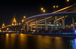 Road on the bridge in evening time. The road on the bridge that mack over the river in evening time royalty free stock photos