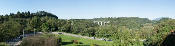 Road and bridge of five rings in Malnate, Varese Stock Photography