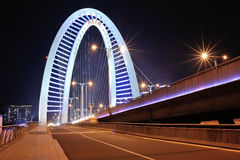 Road and bridge at night Stock Image