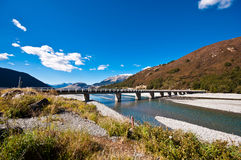 Road bridge over dunstan lake royalty free stock image