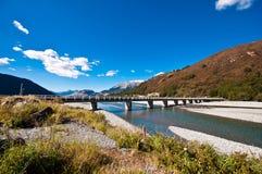 Road bridge over dunstan lake Royalty Free Stock Image