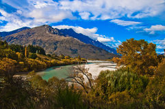 Road bridge over dunstan lake. Near Queenstown New Zealand Royalty Free Stock Photos
