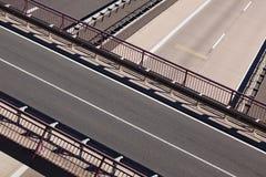 Road bridge over highways. Aerial view of road bridge over empty highways royalty free stock photos