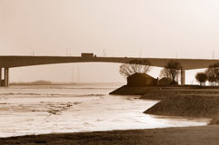 Road bridge over the river stock photos