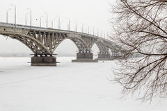 Road bridge over the Volga river in Saratov, Russia Stock Image