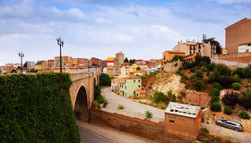 Road bridge and residence district in Teruel Stock Images