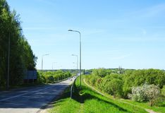 Road, bridge by river Nemunas in church, Lithuania Stock Photography