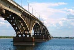 Road bridge in Saratov. Road bridge over the Volga River in Saratov Royalty Free Stock Image