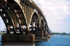 Road bridge in Saratov. Road bridge over the Volga River in Saratov Royalty Free Stock Images