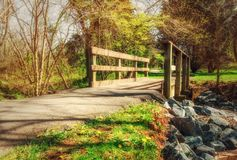 Road and bridge in a sunny park in early spring Royalty Free Stock Photos