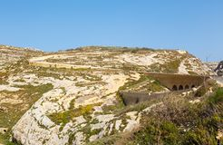 Road and Bridge to Azure Window. Road and Bridge Azure Window, famous stone arch of Gozo island in the sun in summer, Malta Royalty Free Stock Image