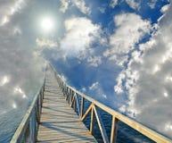 Road bridge to hevesn paradise sun clouds Stock Photos