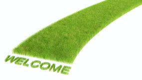 Road with bright green grass. Welcome.  Stock Images