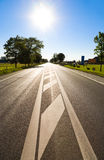 Road with bright sun Royalty Free Stock Photography