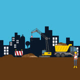 Road building city construction site worker vector illustration Royalty Free Stock Photos