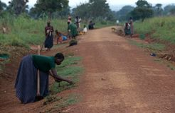 Road building in Uganda Royalty Free Stock Photography