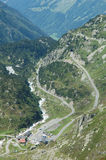Road and buildings nearby Sustenpass in Alps in Switzerland Stock Image