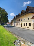 Road and burgher houses in Spisska Sobota. Summer view of road in Spisska Sobota town, located near Poprad, Slovakia. Spisska Sobota is one of the best preserved stock images