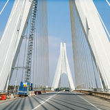 Road on cable-stayed bridge near Portimao city. Travel to Algarve Portugal - road on cable-stayed bridge near Portimao city (Portimao bridge Royalty Free Stock Photo