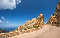 Road through the Calanches de Piana in Corsica Royalty Free Stock Image