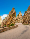 Road through the Calanches de Piana in Corsica Royalty Free Stock Photography