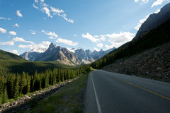 Road through the Canadian Rockies in Lake Louise, Alberta, Canad. This image shows a Road through the Canadian Rockies in Lake Louise, Alberta, Canada Royalty Free Stock Images
