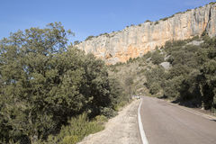 Road in Canyon Landscape; Nuevalos, Aragon Stock Photo
