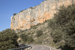 Road in Canyon Landscape; Nuevalos, Aragon Stock Photography