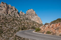 The road through canyon in the mountains Royalty Free Stock Image