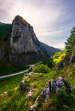 Road in Canyon of Trascau mountains. In the morning. lovely scenery of Carpathian landscape in springtime. beautiful travel destination. location Cheile royalty free stock photography