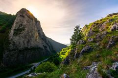 Road in Canyon of Trascau mountains. In the morning. lovely scenery of Carpathian landscape in springtime. beautiful travel destination. location Cheile Stock Images