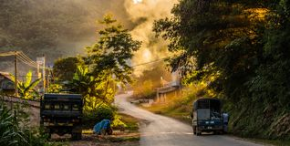 Road in Cao Pha. Son La in the sunset Royalty Free Stock Images