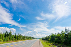 Road in Cape of Breton Highlands national park Royalty Free Stock Image