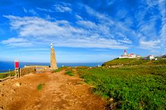 Road at Cape Roca. Cabo da Roca most western point in Europe. Travel tourism landmark in Sintra and Lisbon, Portugal. Road at Cape Roca. Cabo da Roca most royalty free stock photography