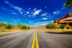 Road in Capital Reef National Park. Capitol Reef National Park is a United States National Park, in south-central Utah Stock Photo