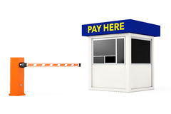 Road Car Barrier and Parking Zone Booth with Pay Here Sign. 3d R Royalty Free Stock Photo