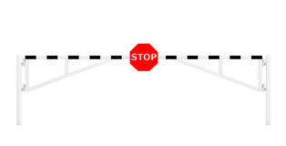 Road Car Barrier with Stop Sign Stock Photo