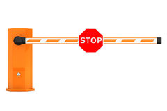 Road Car Barriers with Stop Sign Royalty Free Stock Photography