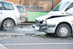 Road car crash collision in urban street Stock Photos