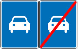 Road for car sign,vector blue symbol. Only car allowed road sign. Stock Photo