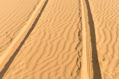 Of- road car track in desert Royalty Free Stock Photo