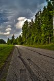 Road with car tracks Royalty Free Stock Photo