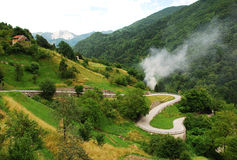Road in Carnic Alps Near Paularo Stock Images