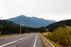 Road in Carpathian stock photo