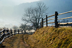 Road in the Carpathian village Stock Photo