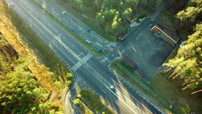 Road for cars aerial view from top around green nature stock photo