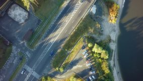 Road for cars aerial view from top around green nature royalty free stock image
